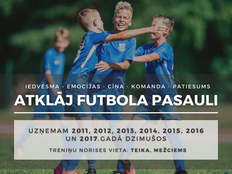 """Futbola skola """"Nikars"""" aicina uz futbola nodarbībām"""
