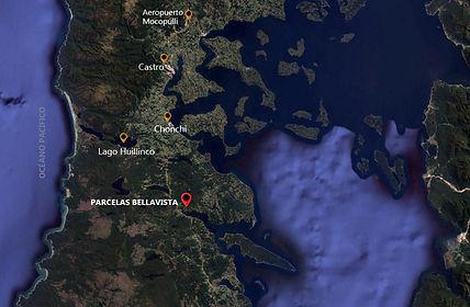 Mapa ubicacion Parelas Bellavista, Chiloé