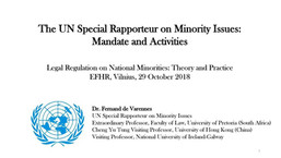 2020 Contribution to the Report of the UN Special Rapporteur on Minority Issues