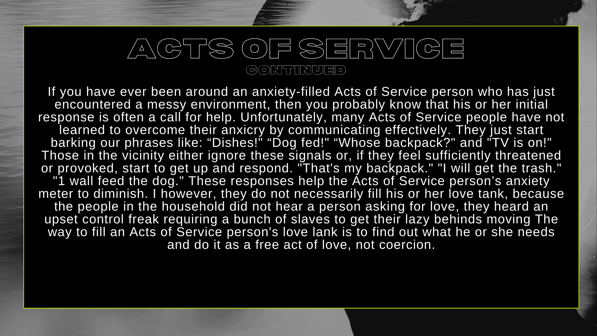 ACTS OF SERVICE CONT...
