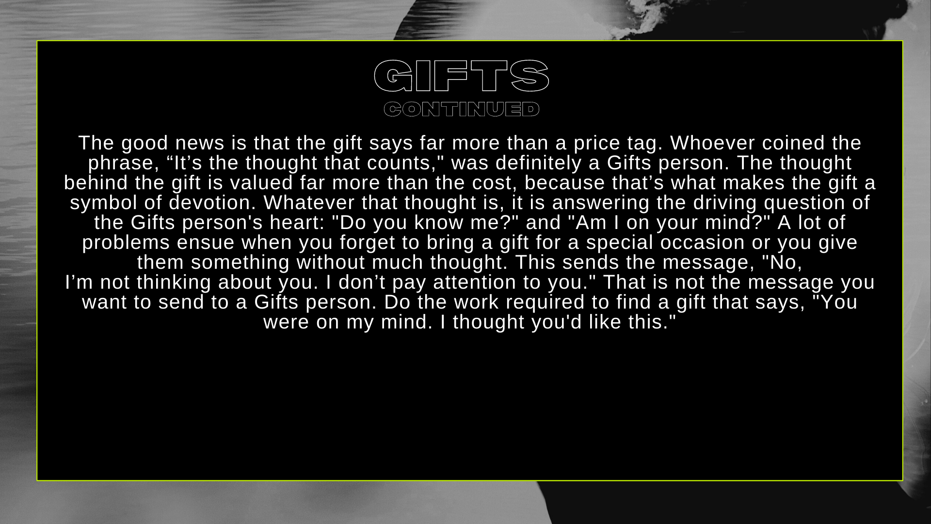 GIFTS CONT...