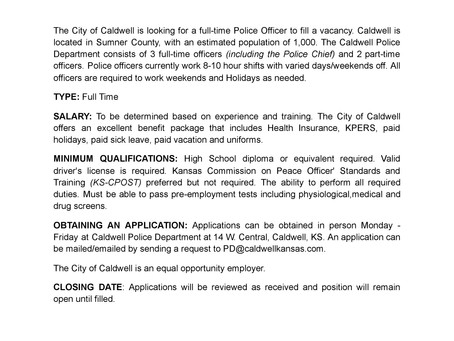 Open Positions at Caldwell Police Department
