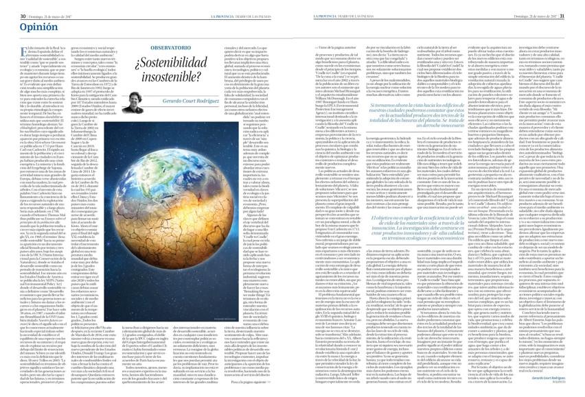 Article de Gerardo Court dans le journal La provincia, Diario de Las Palmas