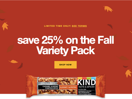 KIND Snacks 25% Off Fall Variety Pack