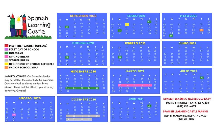 Instructional Calendar - SLC - 2020-2021
