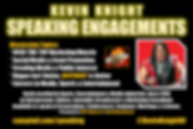 Kevin Knight Public Speaking Engagements