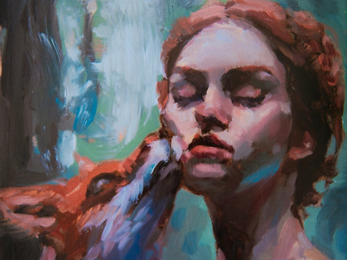 The Lady & The Fox ~ Oil Study on Sketchbook~ Print