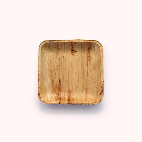 15cm Palm Leaf Square Snack Plate - 6 piece