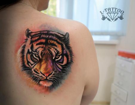 Тигр в стиле акварель