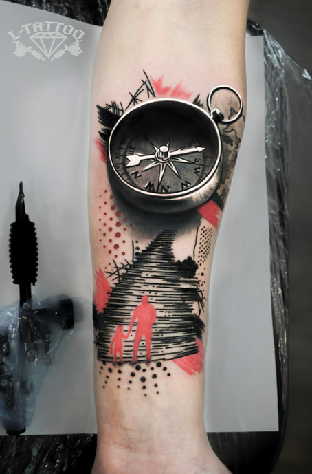 Trash polka tattoo
