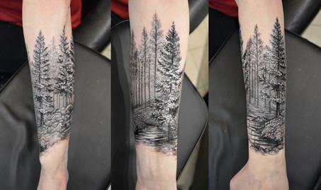 Перекрыли старую татуировку лесным пейзажем