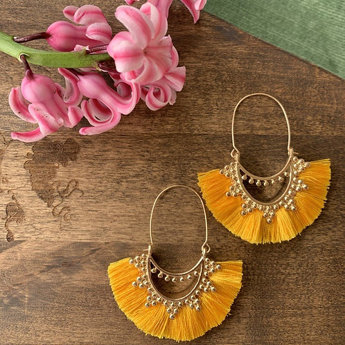 Bohemian Yellow Tassel Earring