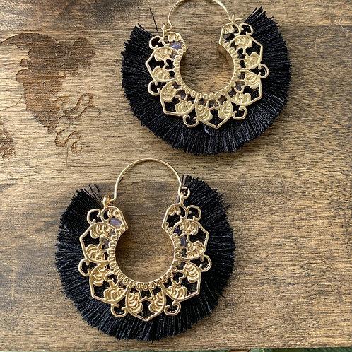 Black Bohemian Tassel Earring