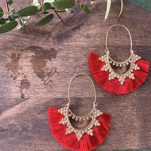 Bohemian Tassel Earring Red