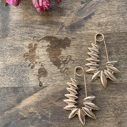 Gold Leaf Safety Pin Earring