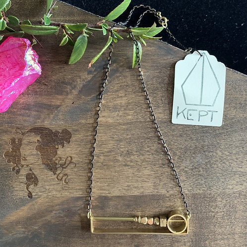 KEPT Brass Geo Bar Necklace
