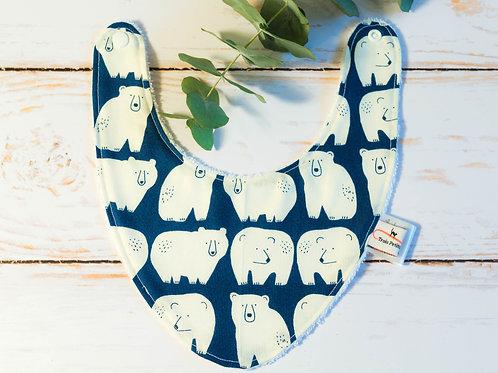 Bavoir bandana ours polaires bleu bébé