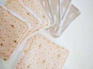 Lingettes lavables plumes rose gold