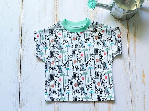 T-shirt bébé savane crocodile girafe