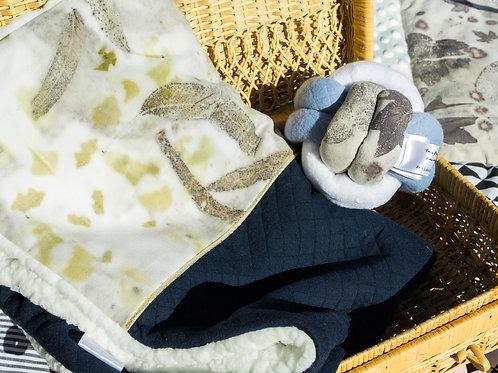 Couverture bébé ecoprint bleu marine