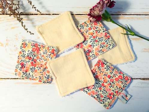Lingettes lavables rose liberty coton