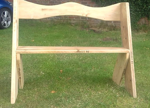 Garden bench made from recycled scaffold boards