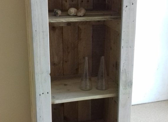 Reclaimed wood open fronted tallboy