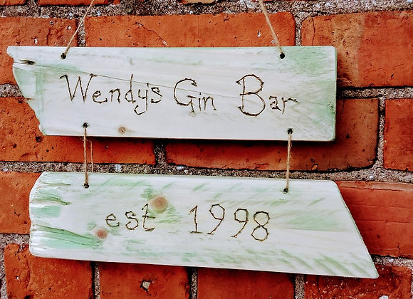 Personalised driftwood sign
