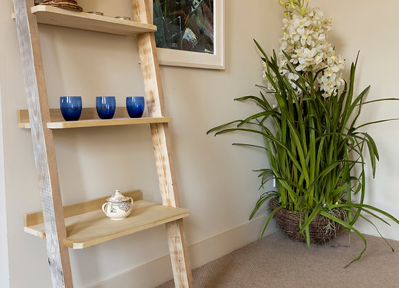 Reclaimed ladder style shelving unit