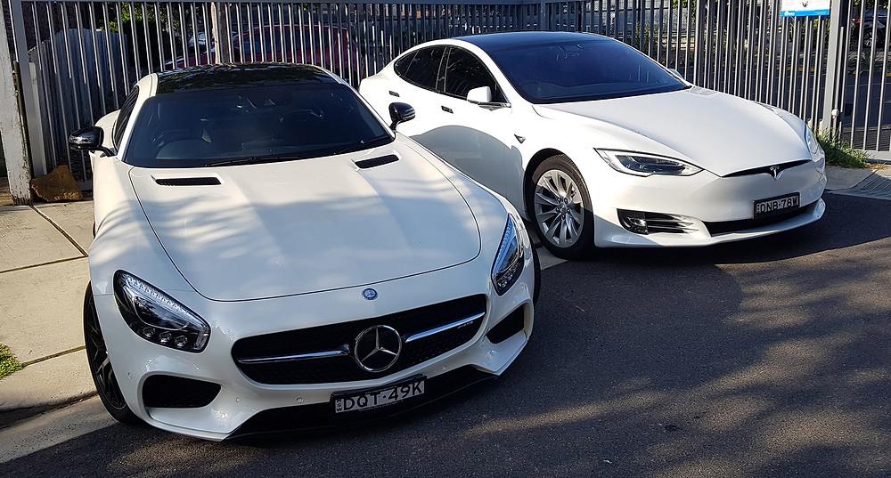 Tesla Model S and Mercedes GT