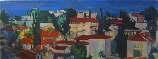 Jerusalem Rooftops from the Flat- dusk,2013