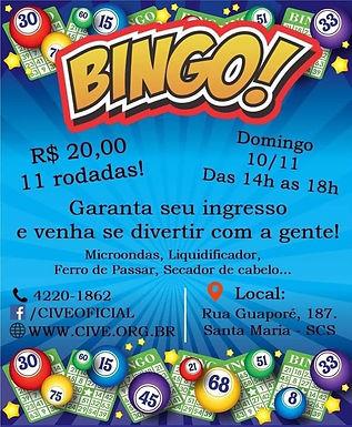 Flyer de divulgação do Bingo, contendo valor (R$20,00), dia, horário, e os prêmios