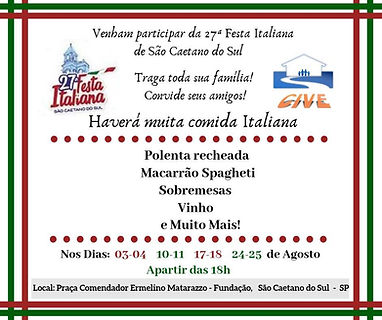 Flyer de divulgação da Festa Italiana contendo os logotipos da ong e da festa, o cardápio, os dias e horários e o local.