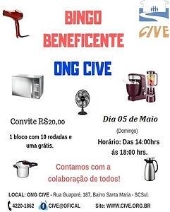 Flyer de divulgação do Bingo, contendo o valor do convite (R$ 20,00), a data, o horário e a imagem de alguns prêmios (microondas, ventilador, batedeira, panela de pressão e cafeteira).