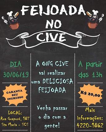 Flyer de divulgação da Feijoada, contendo a data, o horário e o valor do ingresso (R$ 20,00). Letras brancas no fundo preto.