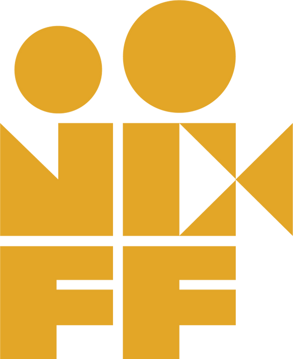 Yellow No Coast Film Fest logo. N, C, and two Fs stack with two circles to form a film reel camera