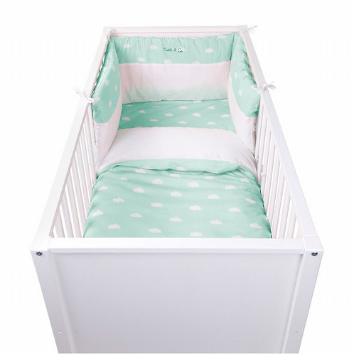 Bedbeschermer Snoozy Clouds | Mint Blue