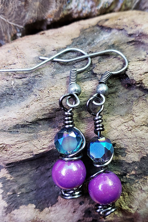 Blue and Purple Wire Wrapped Twist Earrings