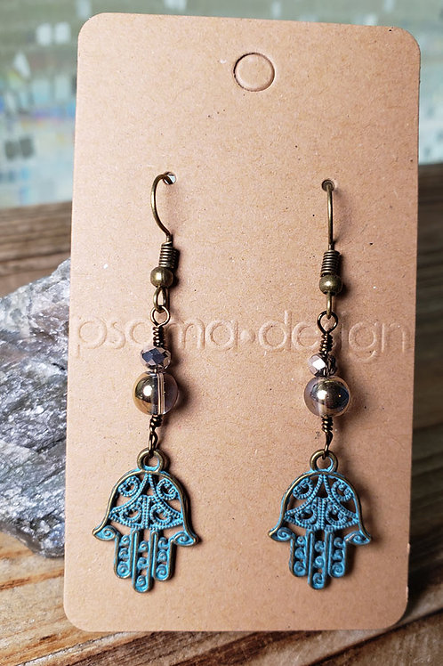 Patina Brass Hamsa Dangle Earrings