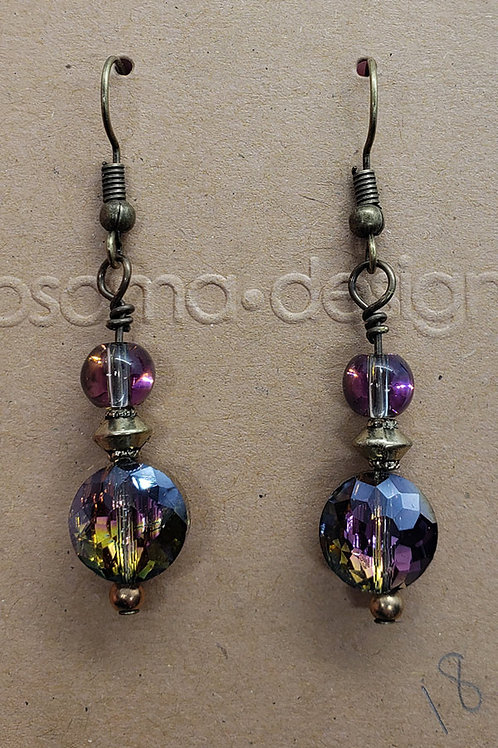 Faceted Iridescent Crystal Bead Earrings