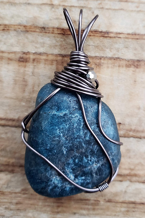 Blue Apatite Wire Wrapped Pendant