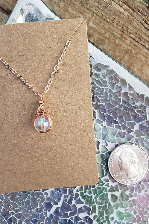 Iridescent Rainbow Glass Rose Gold Wire Wrapped Mini Pendant