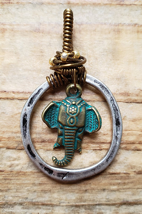 Elephant Patina Wire Wrapped Pendant