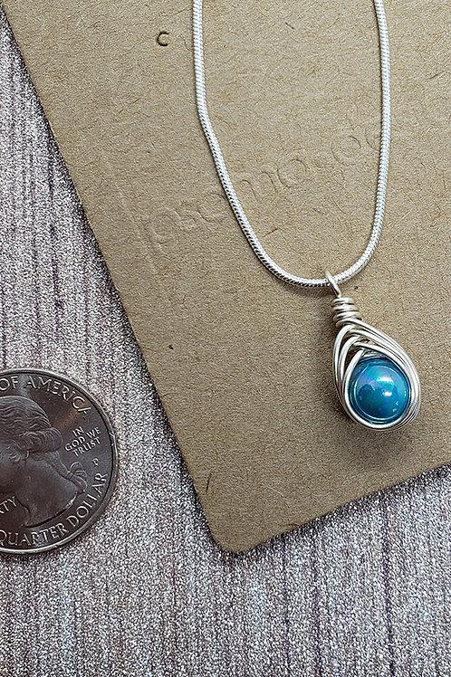 Aqua Iridescent Shell Wire Wrapped Mini Pendant