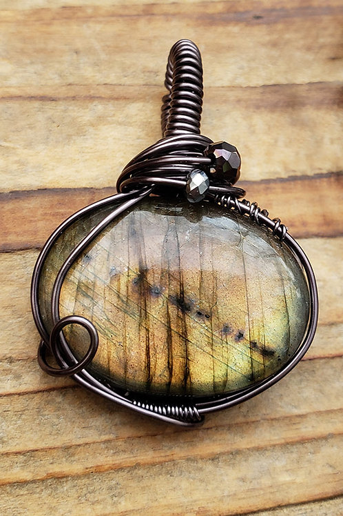 Golden Labradorite Wire Wrapped Pendant