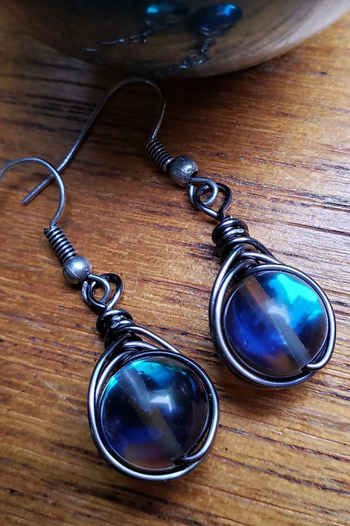 Mermaid Glass Iridescent Wire Wrapped Earrings