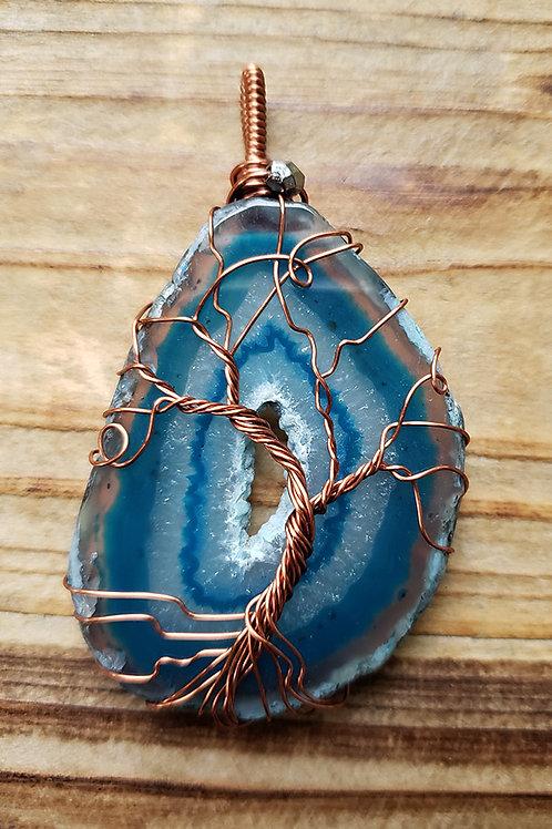 Sliced Agate Tree of Life Pendant