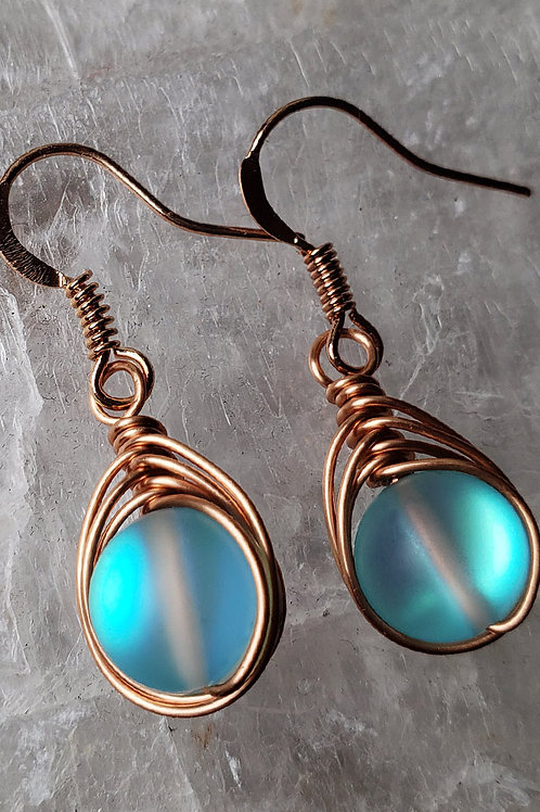 Aqua Mermaid Glass Iridescent Wire Wrapped Earrings