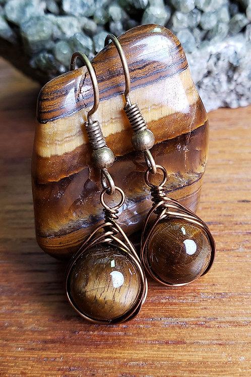 Tiger Eye Wire Wrapped Earrings