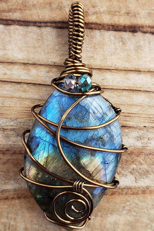 Blue / Brown Labradorite Wire Wrapped Pendant